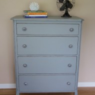 4 Drawer Dresser with Blue and White Pulls