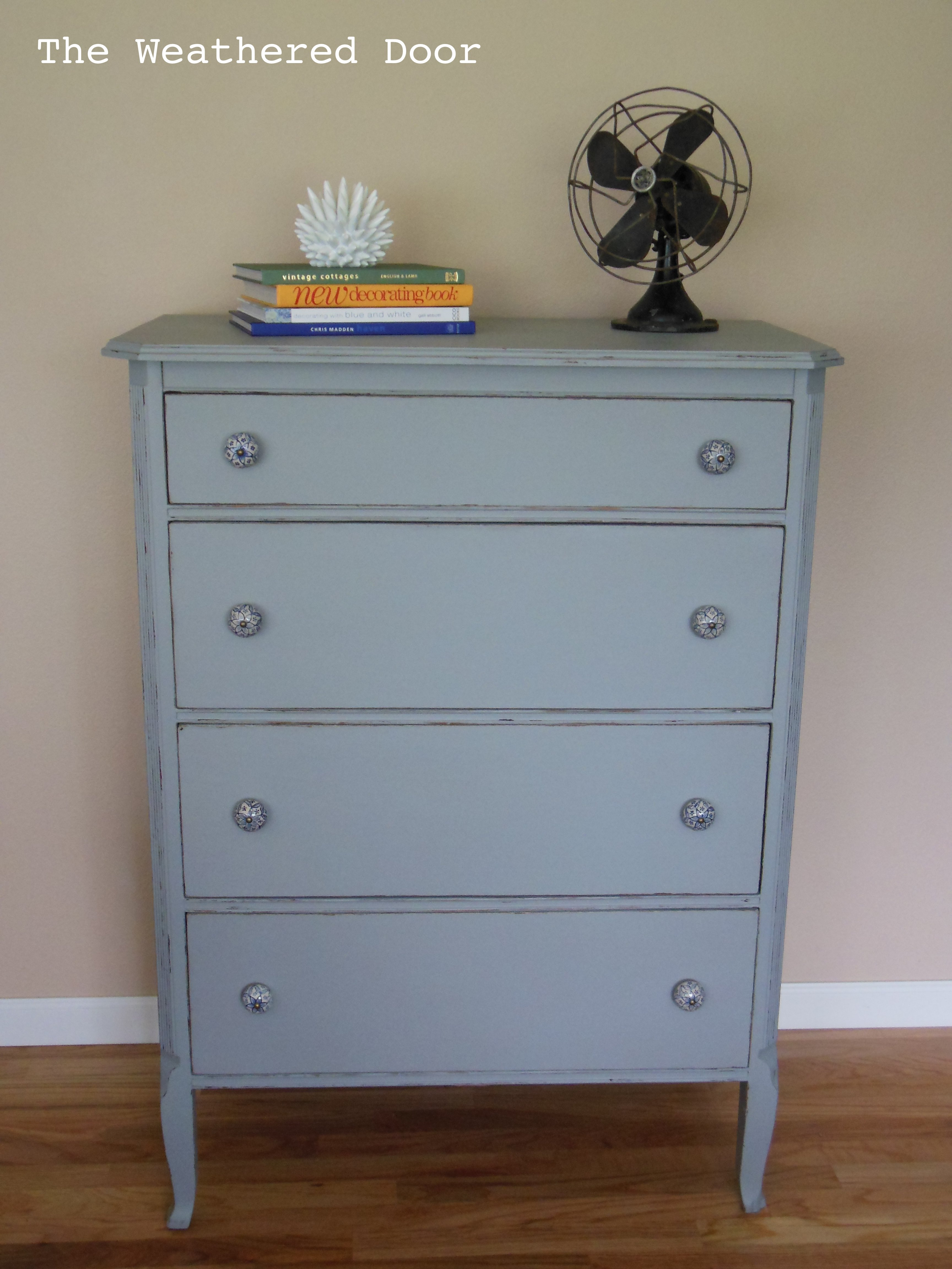 4 Drawer Dresser With Blue And White Pulls The Weathered Door