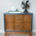 Walnut-Navy Mid Century Nightstand