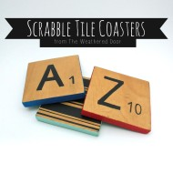 Reversible scrabble tile coasters with a pop of color
