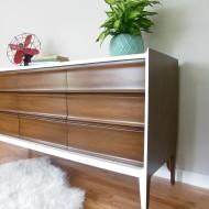 A walnut and white mid century dresser