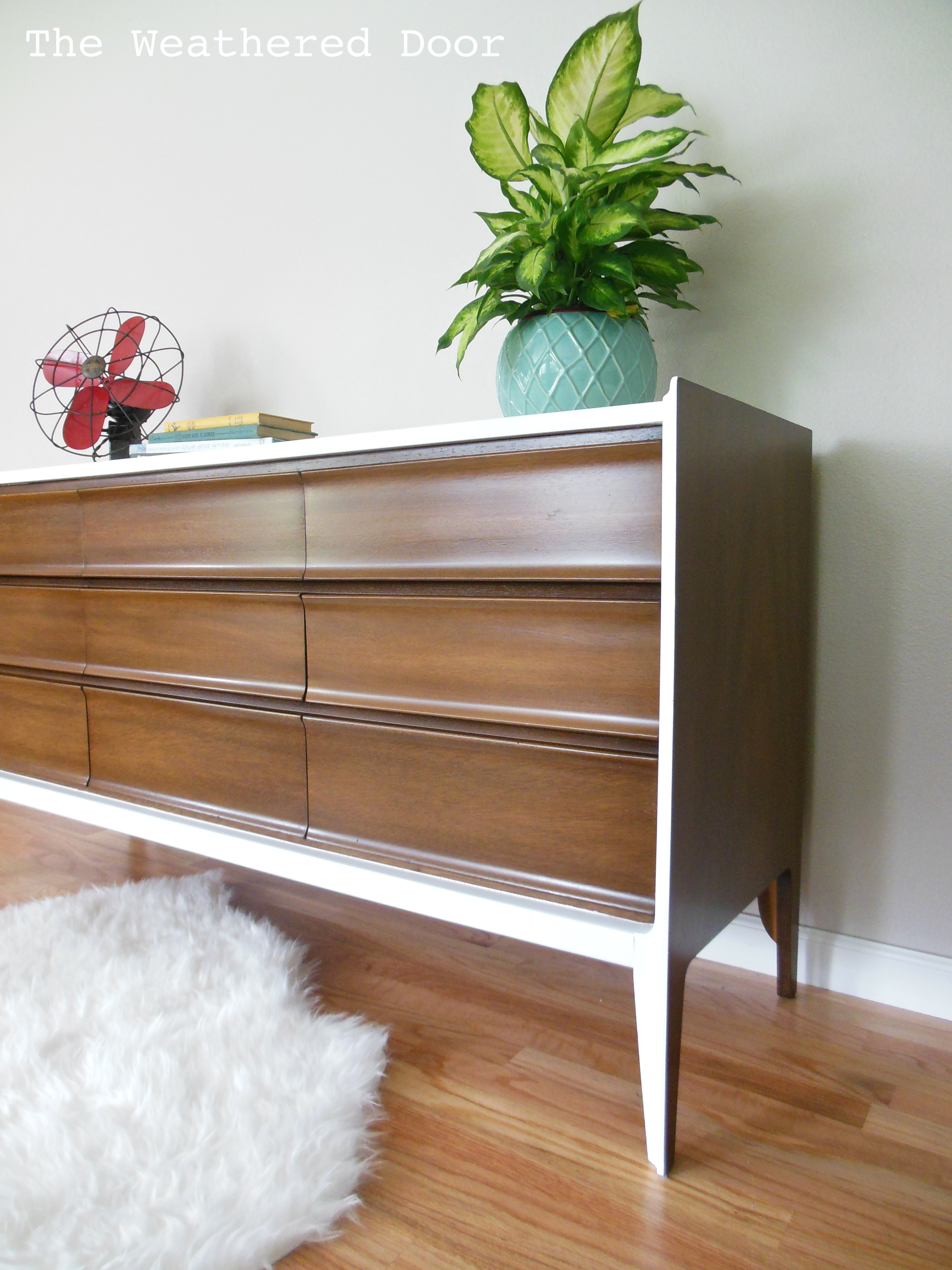 A Walnut And White Mid Century Dresser The Weathered Door