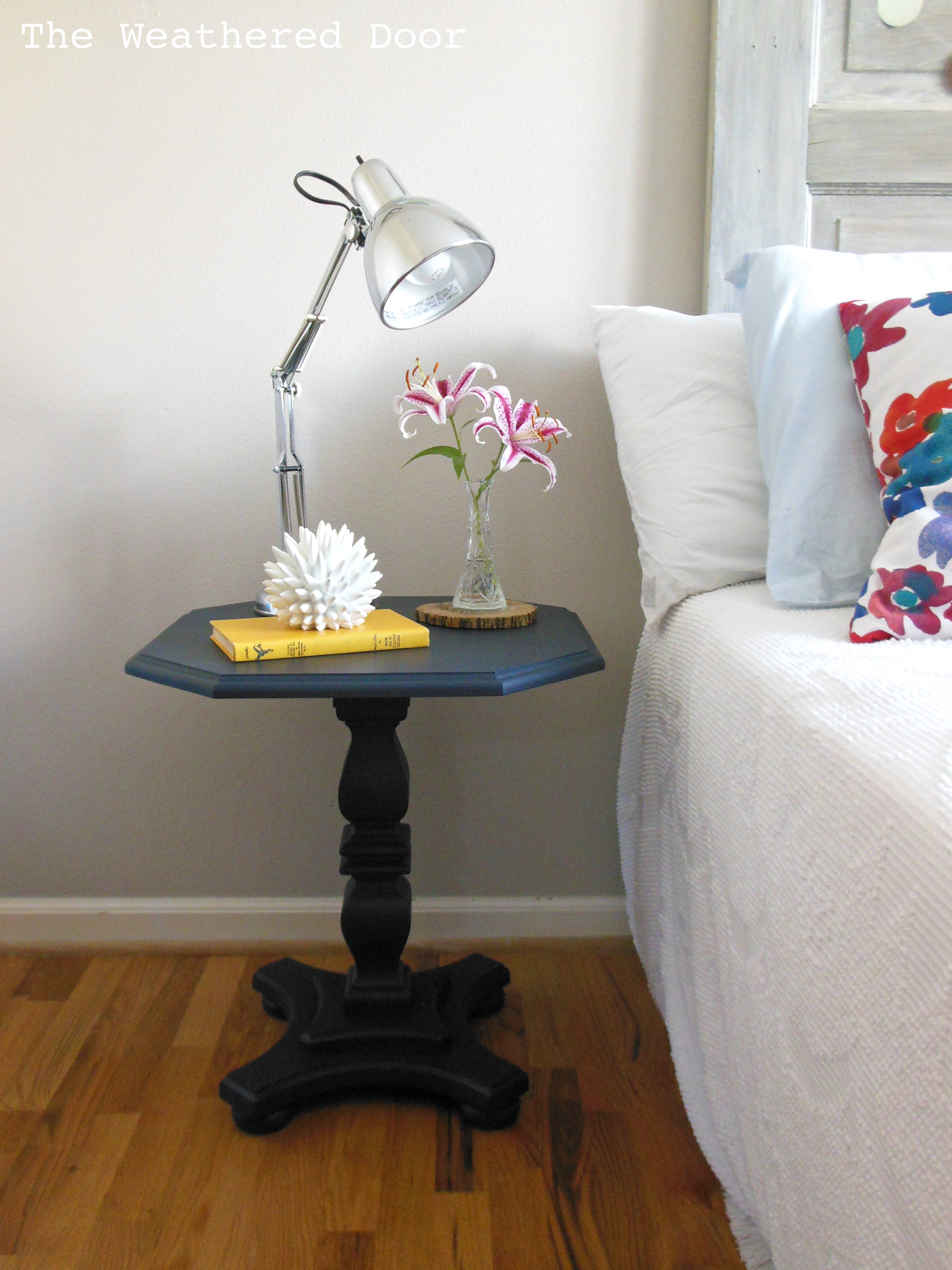 A navy pedestal side table The Weathered Door