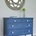 A Federal Blue Milk Paint Dresser with Light Blue Knobs
