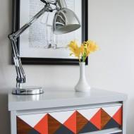 Orange, Grey and White Geometric Nightstand