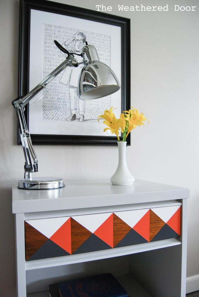 Orange Grey And White Geometric Nightstand The