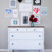 White and Wood Farmhouse Dresser with Blue Glass Knobs