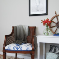 Cane Chair Makeover with Blue and White Ikat Fabric
