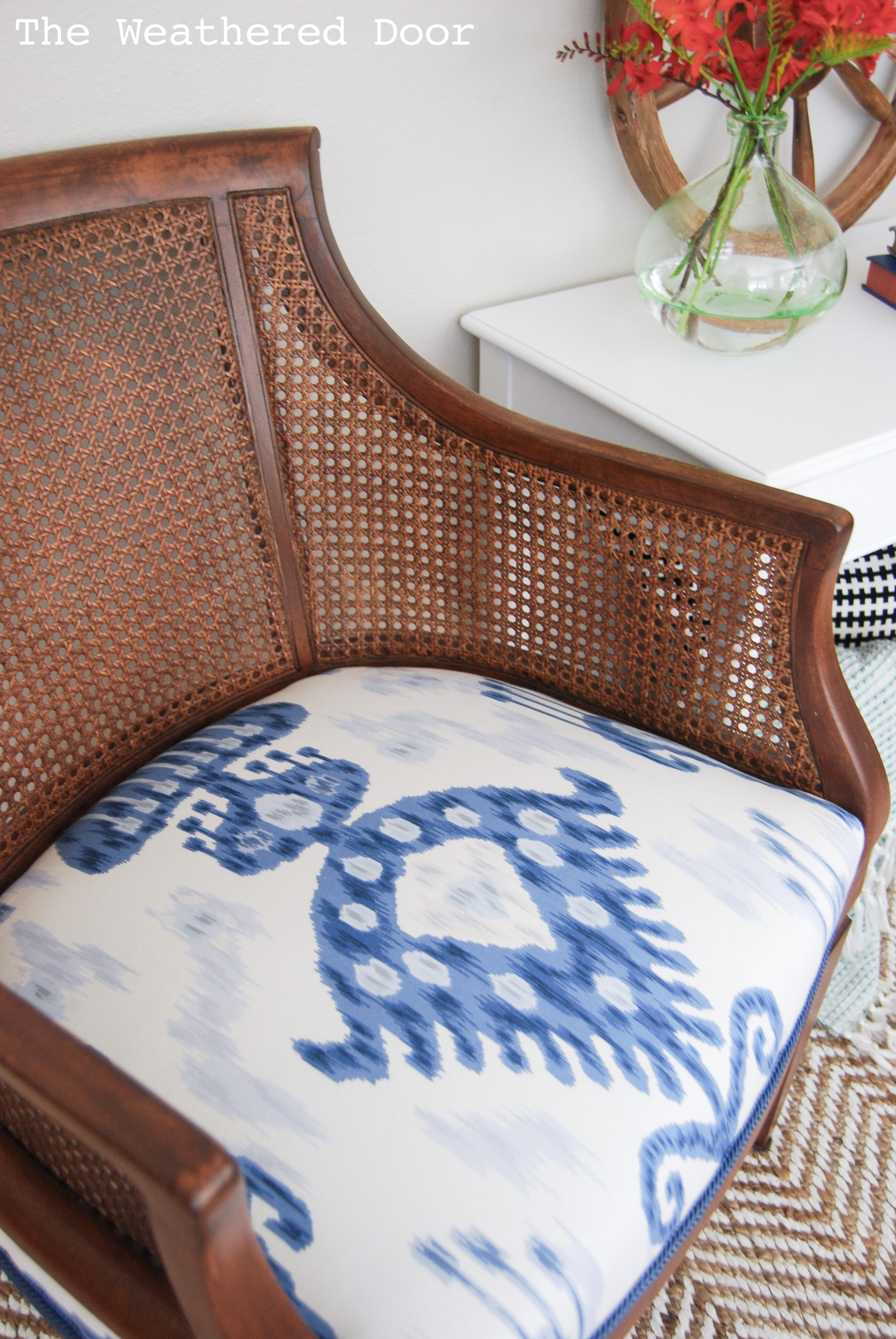 Cane Chair Makeover with Blue and White Ikat Fabric The