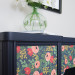 Adding Paper to Furniture: a navy desk with flower patterned paper