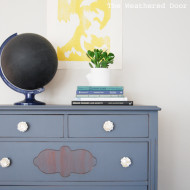 Furniture Reveal: Blue-Grey Dresser with Flower Knobs