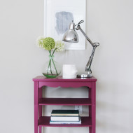 Magenta table with silver dipped legs