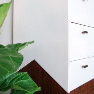 Reverse Dipped Mid Century Dresser with Angled Sides