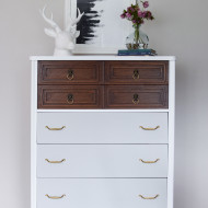 Tall and Modern Mid Century Dresser in White, Wood & Grey