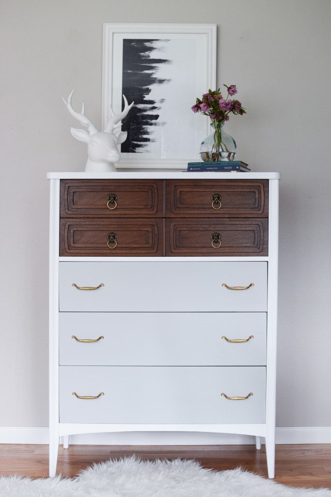 Tall And Modern Mid Century Dresser In White Wood Amp Grey