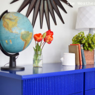 Electric Blue AOM Mid Century Bamboo Dresser