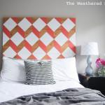 DIY Geometric Planked Wood Headboard Tutorial (for under $100)