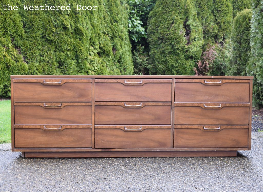 "72"" Grey and Natural Walnut Mid Century Modern Dresser before"