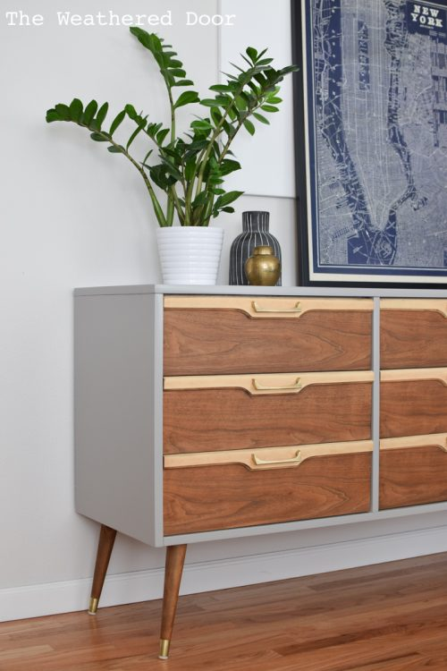 "72"" Grey and Natural Walnut Mid Century Modern Dresser"