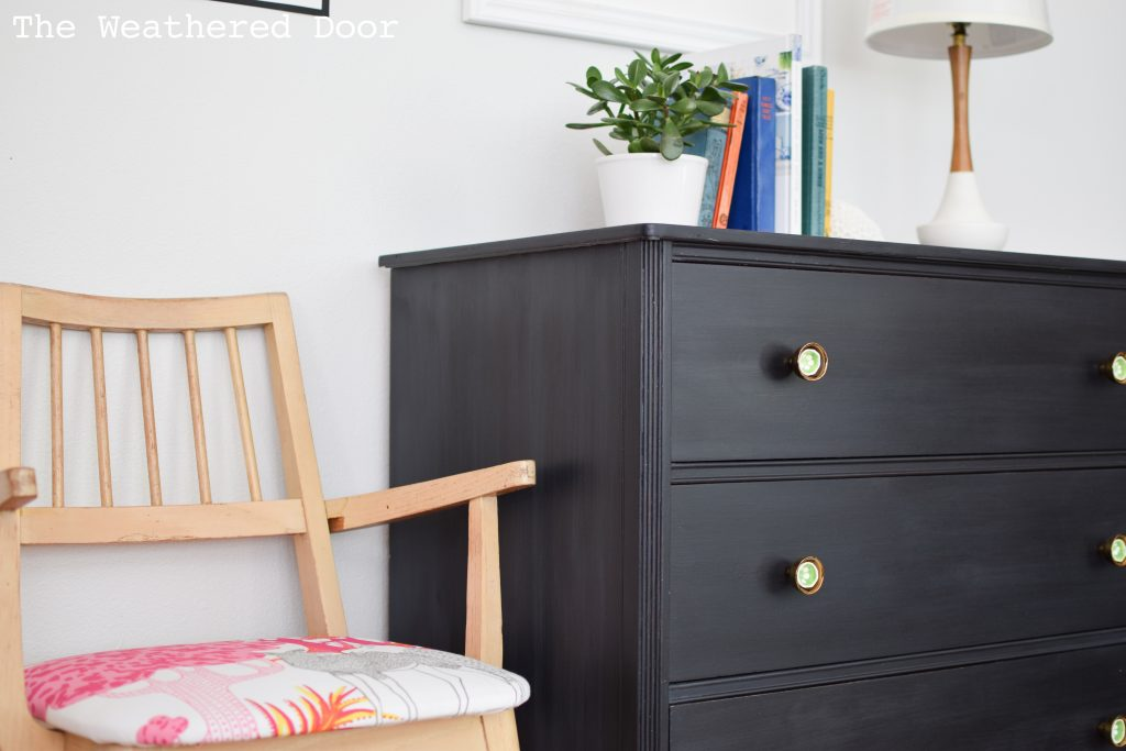 3 Drawer Hepplewhite Black Milk Paint Dresser Before & After | from The Weathered Door