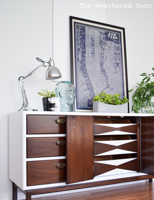 Fresh and Modern Mid Century Dresser with Geometric Drawers   from theweathereddoor.com-1