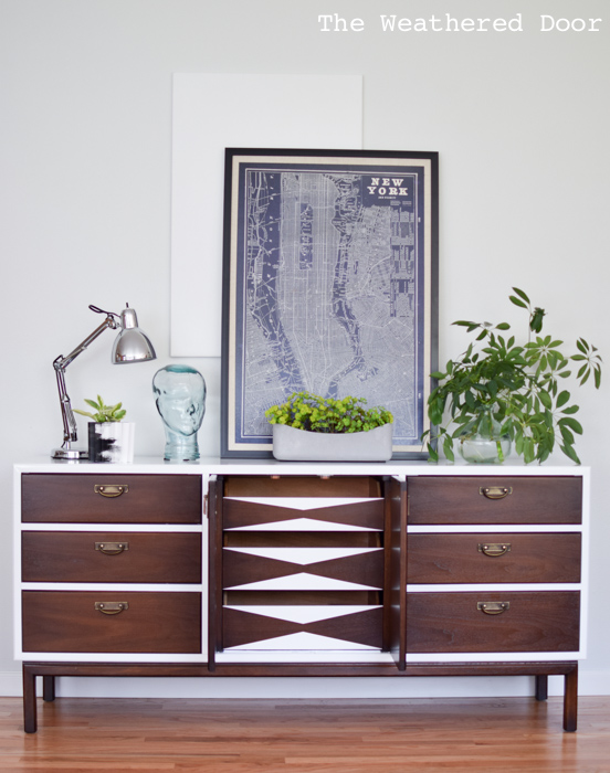 Fresh and Modern Mid Century Dresser with Geometric Drawers | from theweathereddoor.com-4