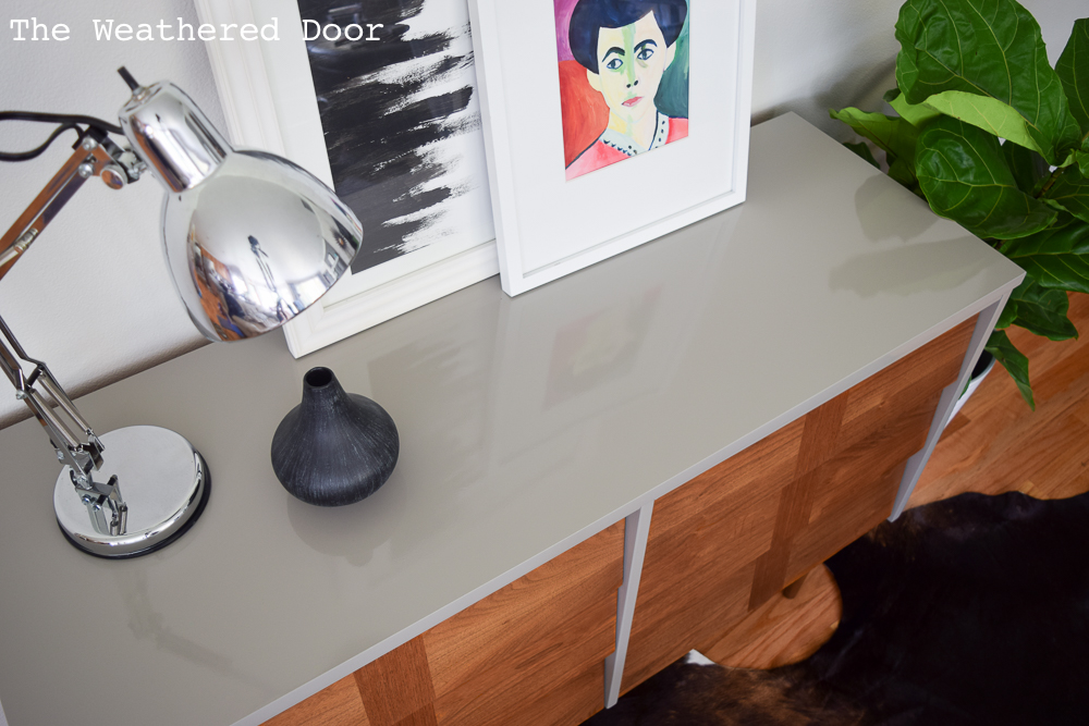Gloss Grey and Wood Lacquered Mid Century Dresser   from The Weathered Door
