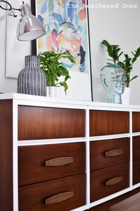 Gloss white and java mid century dresser WD-11