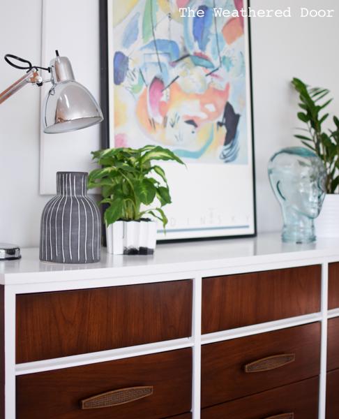 Gloss white and java mid century dresser WD-12