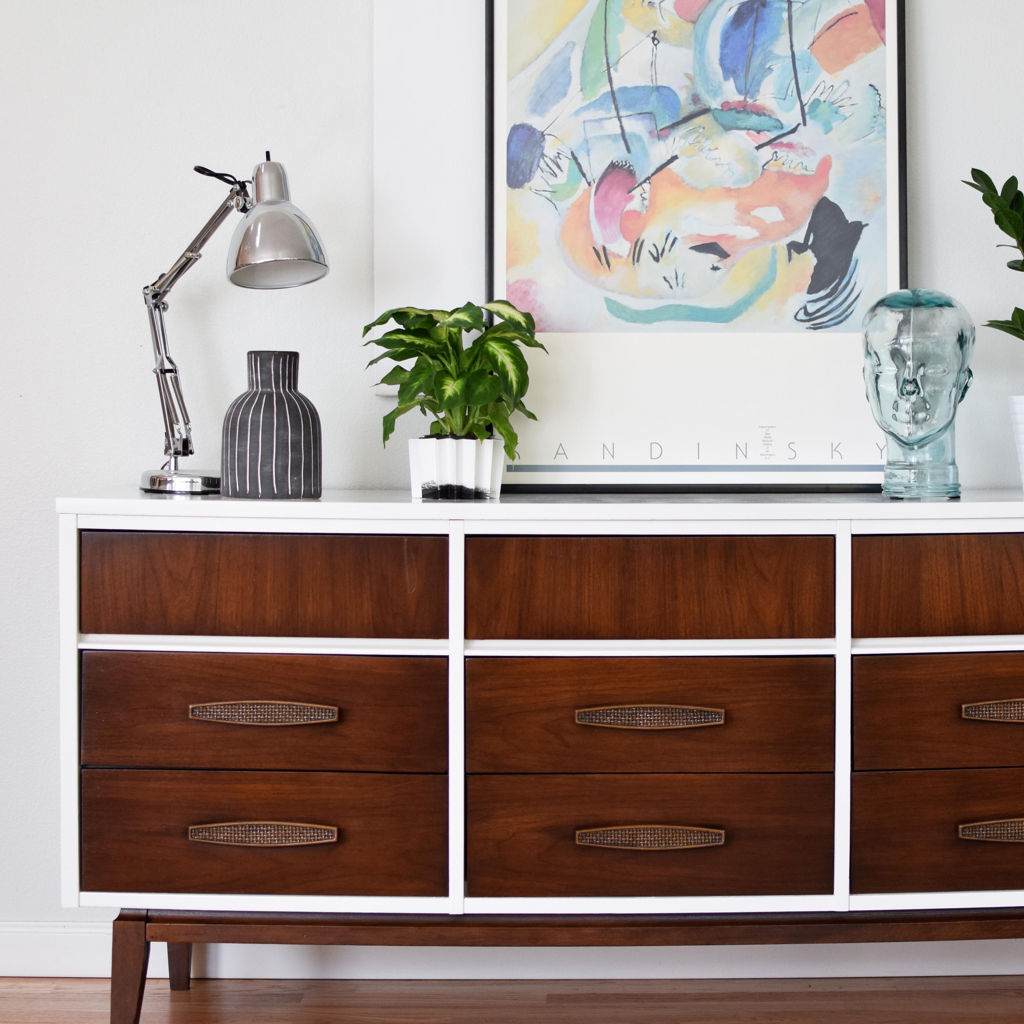 Mid Century 9 Drawer Dresser In Gloss