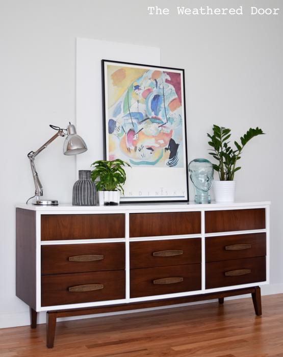 Gloss white and java mid century dresser WD-2