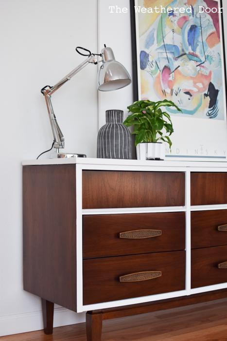 Gloss white and java mid century dresser WD-3