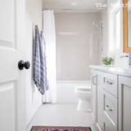Gray and White Guest Bathroom Makeover Reveal from The Weathered Door