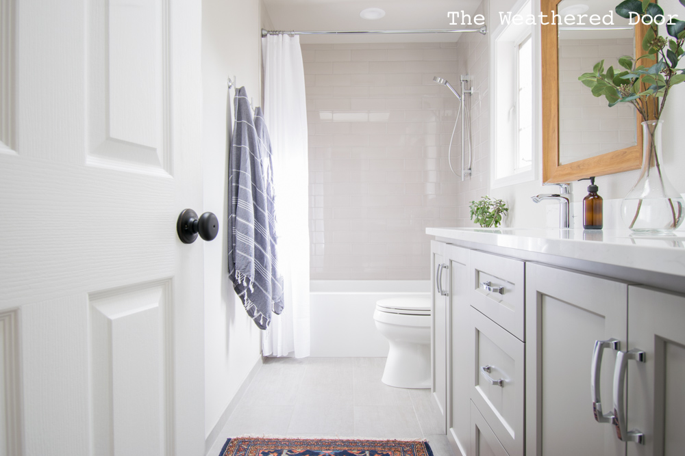 Gray and White Guest Bathroom Makeover Reveal