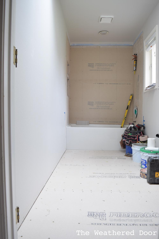Bathroom Tile Install | One Room Challenge Week 3 - The Weathered Door