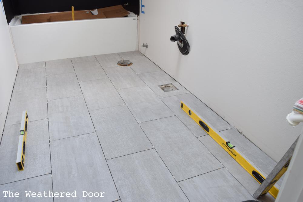Bathroom Tile Install   One Room Challenge Week 3 - The Weathered Door