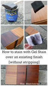 Informative video on how to gel stain without stripping. Super easy!