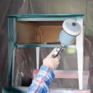 Painting furniture with a HVLP spray gun video