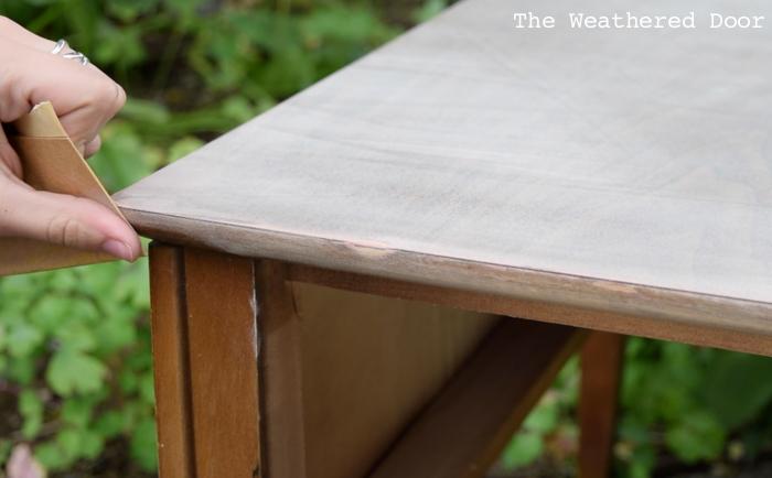 Teal Green Mid Century Side Table progress