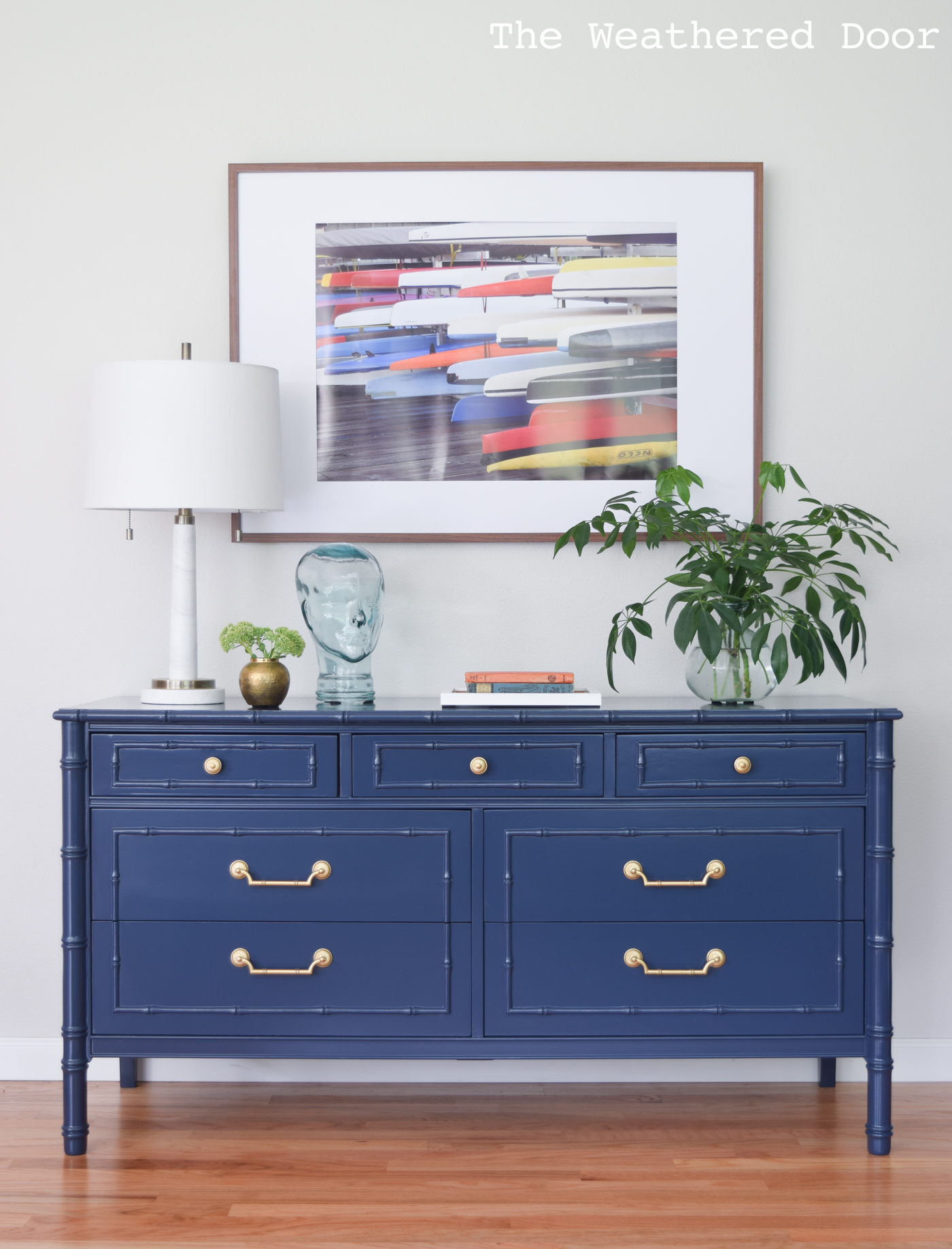 Before and After: Thomasville Allegro Navy Faux Bamboo Dresser