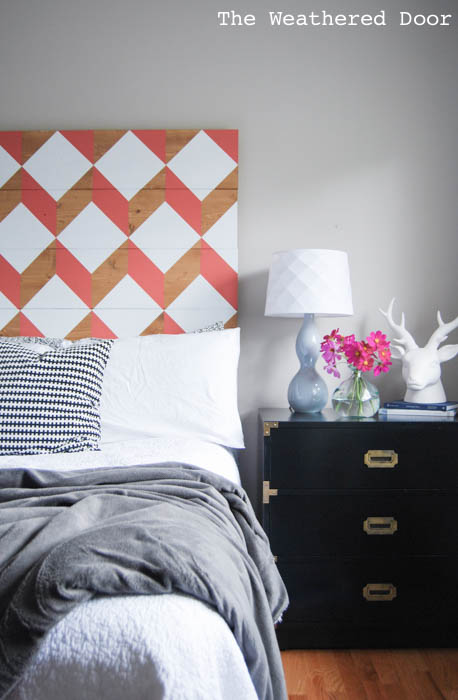 coral geometric headboard diy | from The Weathered Door wd-4