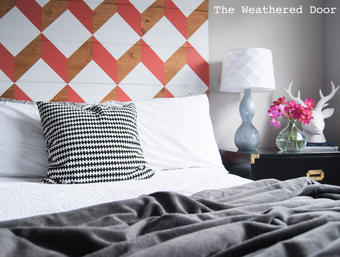 coral geometric headboard tutorial | from The Weathered Door wd-11