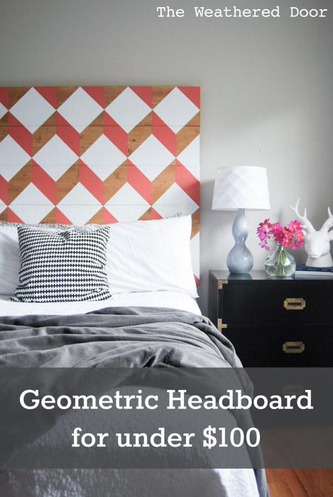 coral geometric headboard under $100 | from The Weathered Door wd-13