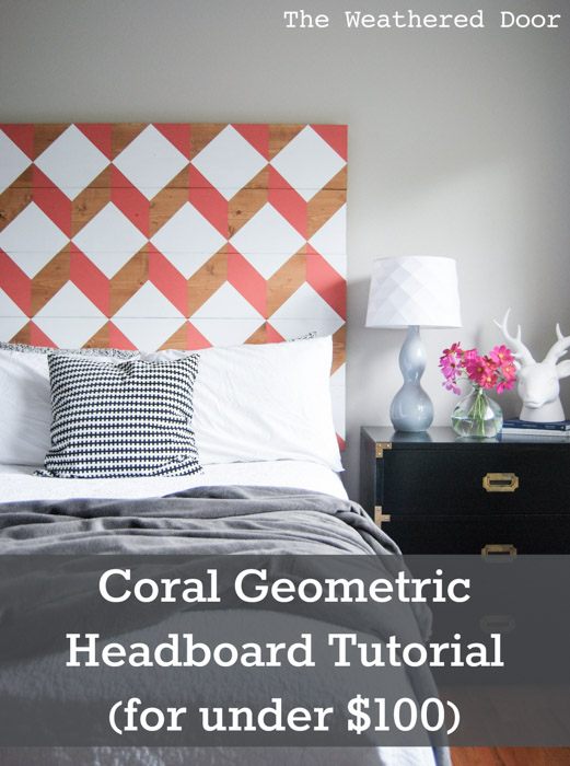 coral geometric headboard under $100 tutorial | from The Weathered Door wd-14