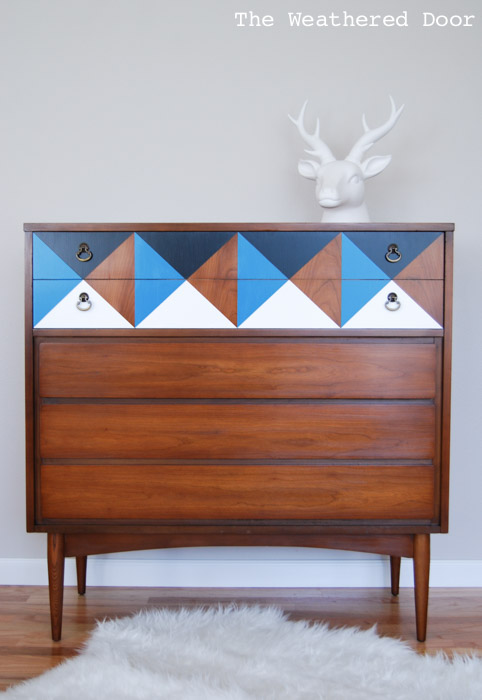 geometric mid century modern wood dresser | from The Weathered Door wd-2