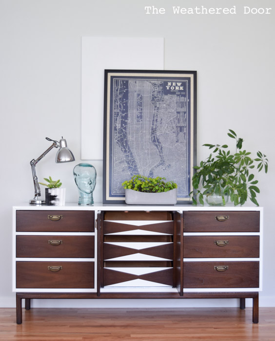 gloss white dresser with geometric drawers | from The Weathered Door wd-2