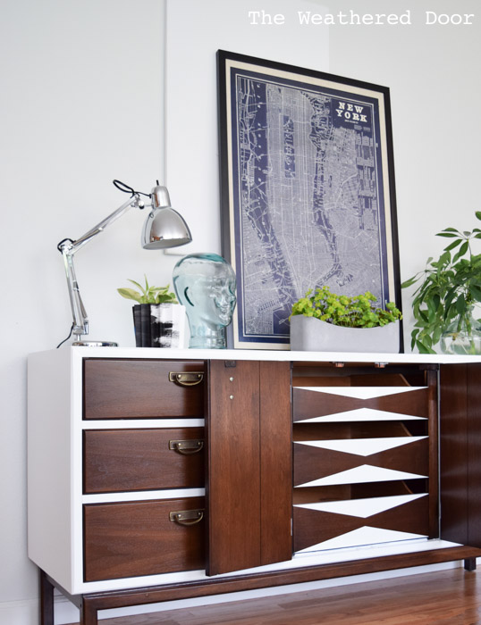 gloss white dresser with geometric drawers   from The Weathered Door wd-3