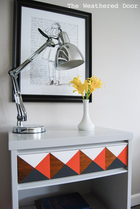 orange and grey geometric nightstand | from The Weathered Door wd-1