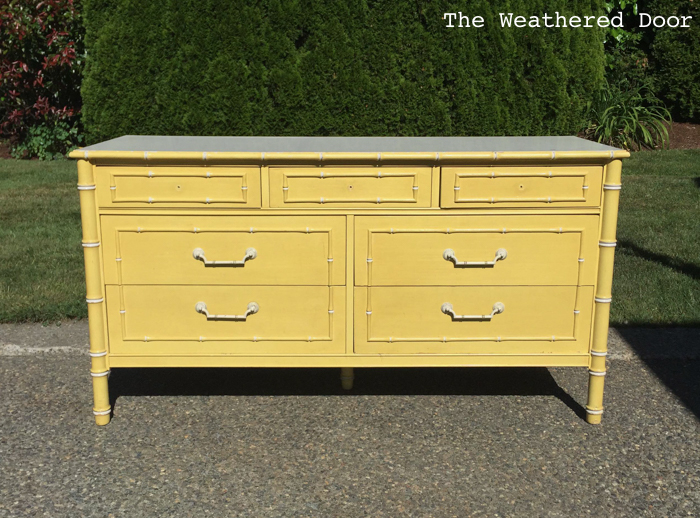 Thomasville faux bamboo navy dresser before WD-1